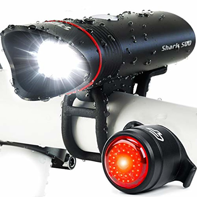 shark 500 usb rechargeable bike light set, 500 lumens, quick release