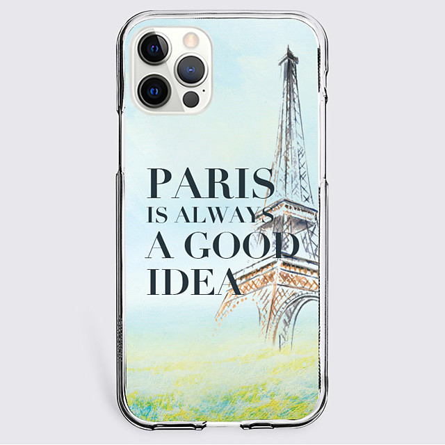 Eiffel Tower Letter Case For Apple iPhone 12 iPhone 11 iPhone 12 Pro Max Unique Design Protective Case Shockproof Back Cover TPU PARIS IS ALWAYS A GOOD IDEA