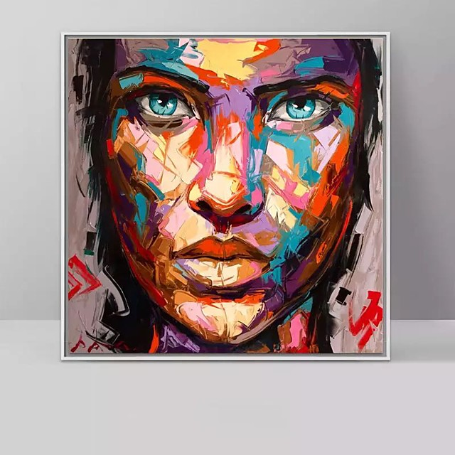 100% Hand-Painted Contemporary Art Oil Painting On Canvas Modern Paintings Home Interior Decor Abstract Face Art Painting Large Canvas Art(Rolled Canvas without Frame)