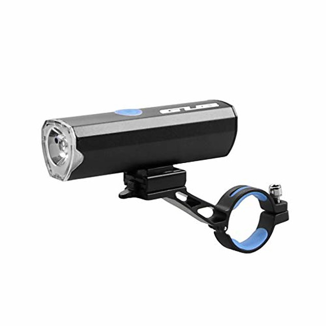bicycle flashlight for bike headlight usb rechargeable led lamp mtb road cycling light (color : black)