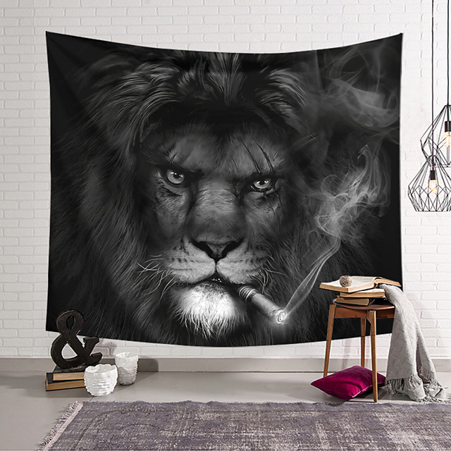 Wall Tapestry Art Decor Blanket Curtain Hanging Home Bedroom Living Room Decoration Polyester Mighty Lion