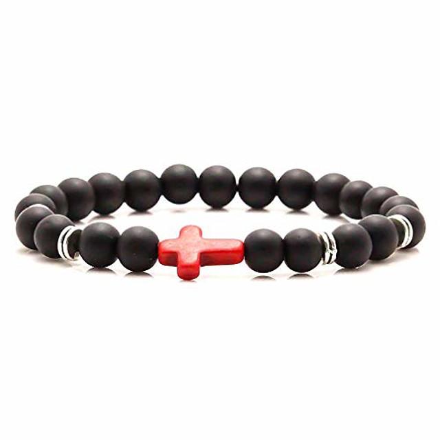 fashion 8mm matte agate beads bracelet cross elastic link bracelet,7 1/2 wrist