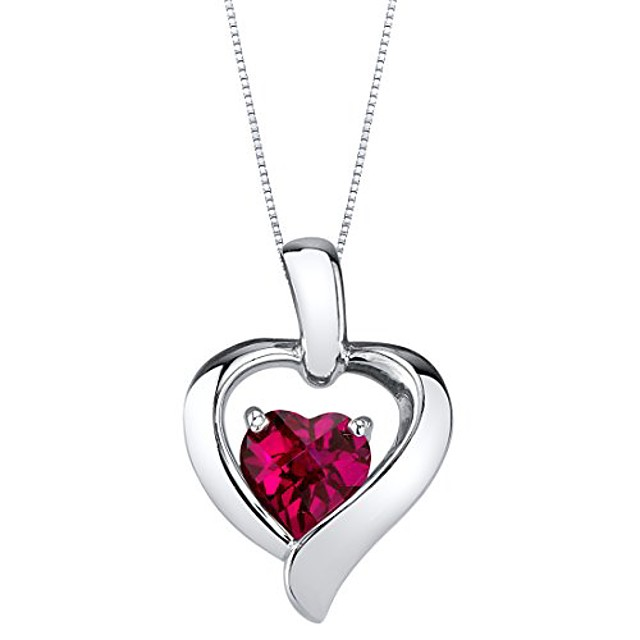 created ruby pendant necklace in sterling silver, heart in heart shape design, 6mm, 1.15 carats with 18 inch chain