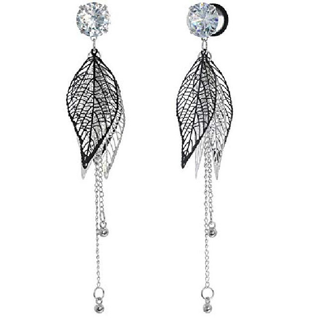 2g 6mm cubic zirconia stainless steel dangle leaves flesh tunnels ear gauge piercing plugs stretching starter with o-ring