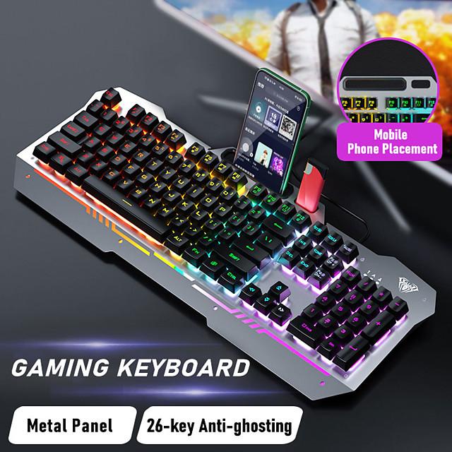 Aula filaire usb couleur mixte clavier de jeu lumineux manipulateur de keycap flottant clavier unique k500f