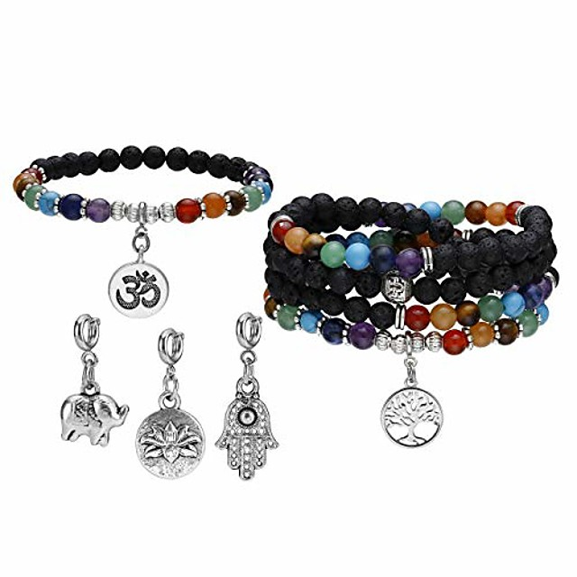 7 chakra reiki healing crystal bead charm bracelet necklace set lava rock stone aromatherapy essential oil diffuser stretch bracelets necklaces with 5 replaceable charms