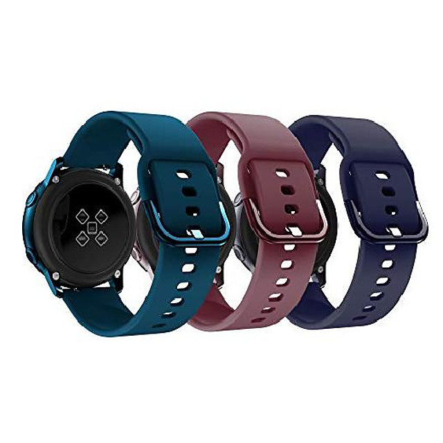 compatible for galaxy watch active bands/active 2/3 bands 40mm/42mm/44mm,women men soft slim silicone wristband compatible for gear sport smart watch pack of 3(burgundy/dark green/midnight blue)