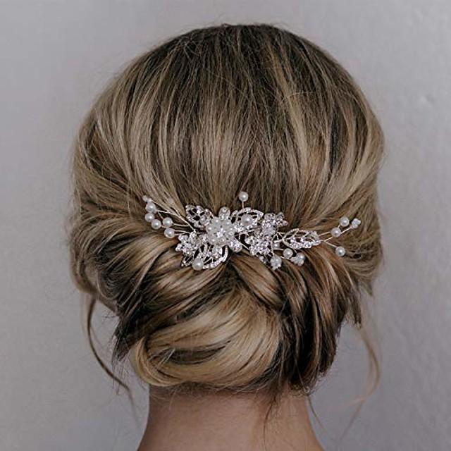 bridal hair comb clip pin rhinestone pearl wedding hair accessories for bride bridesmaid, silver