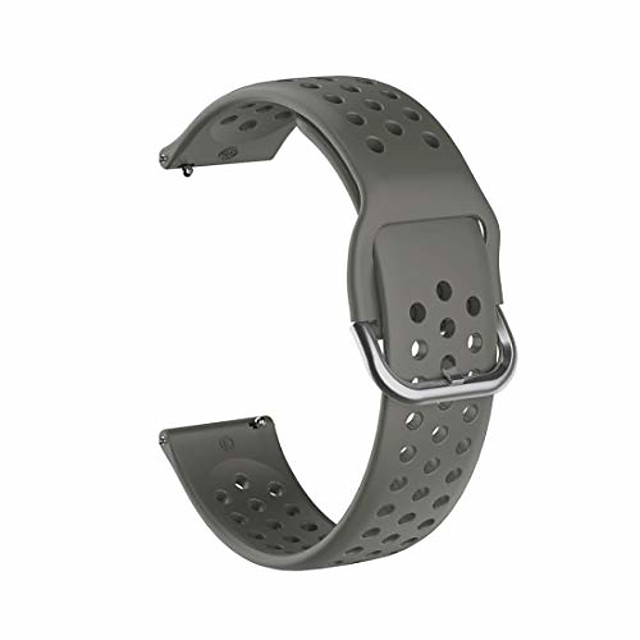 watch strap 20mm for huami amazfit gts/samsung galaxy watch active 2 / huawei watch gt2 42mm breathable porous strap with inner buckle (color : gray)