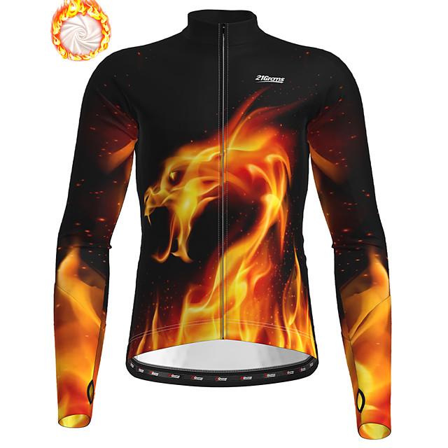 21Grams Men's Long Sleeve Cycling Jersey Winter Fleece Polyester Black / Orange Bike Jersey Top Mountain Bike MTB Road Bike Cycling Fleece Lining Breathable Warm Sports Clothing Apparel / Stretchy