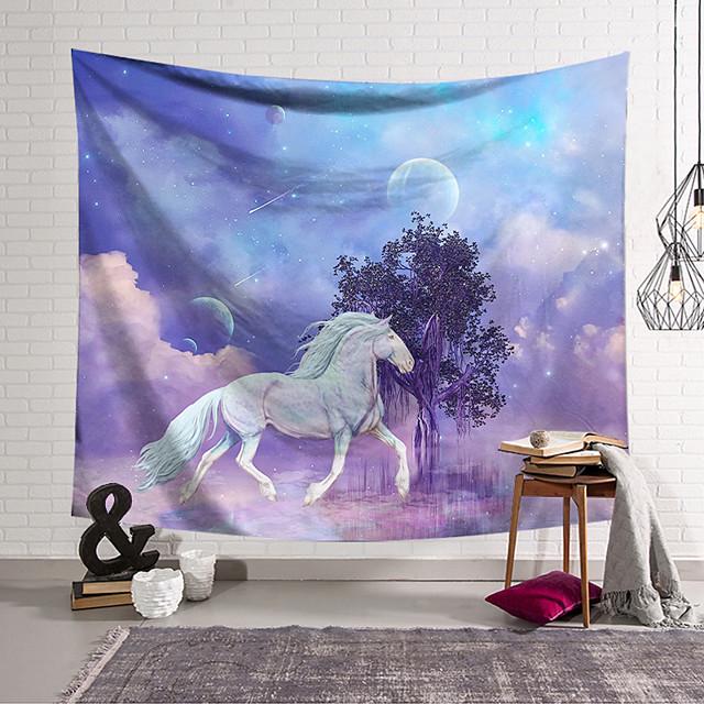 Wall Tapestry Art Decor Blanket Curtain Hanging Home Bedroom Living Room Decoration Polyester Fiber Animal White Horse Tree Lanting Design