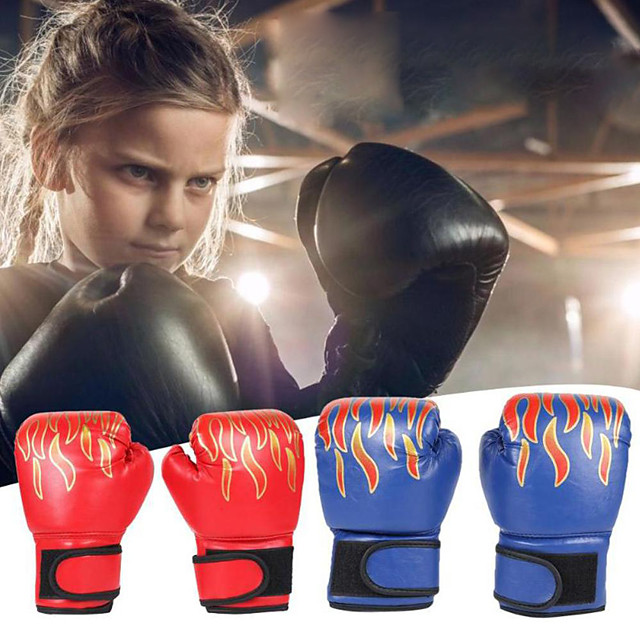 Boxing Gloves For Kung Fu Boxing Training MMA Grappling PU Leather Kids Child - Flame red Flame blue Flame black