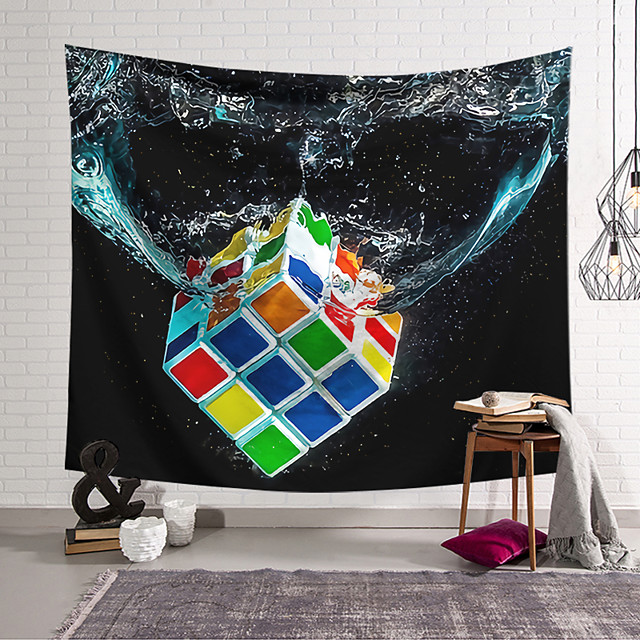 Wall Tapestry Art Decor Blanket Curtain Hanging Home Bedroom Living Room Decoration Polyester Fiber Color Rubik's Cube Into Water Lanting Design