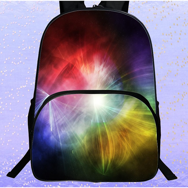 Unisex Kids Polyester Laptop Bag School Bag Commuter Backpack Large Capacity Waterproof Zipper 3D Print Galaxy Pattern Causal Outdoor White Black Blue Red Yellow