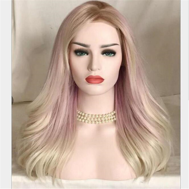 Synthetic Wig Curly Water Wave Middle Part Wig Long Blonde Synthetic Hair Women's Soft Cool Comfy Blonde
