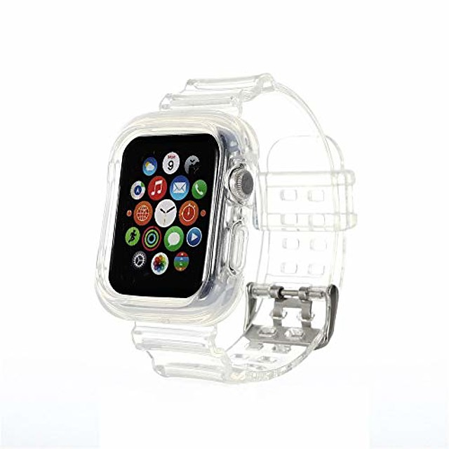 compatible for apple watch band 42mm 44mm 38mm 40mm clear bumper case, women girl transparent soft tpu sports iwatch band strap for apple watch series 6/5/4/3/2/1/se  (clear crystal)