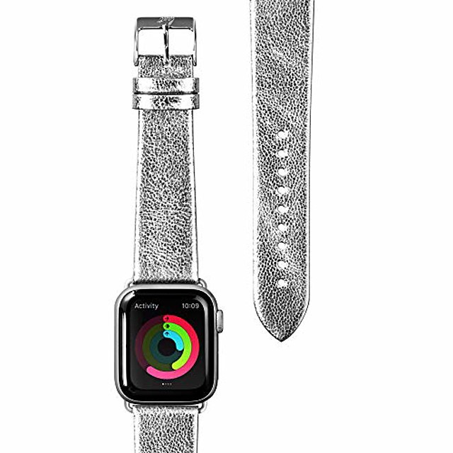 - metallic leather watch strap for apple watch series 1/2/3/4/5 | genuine leather | stainless steel clasp & connectors (38mm / 40mm • silver)