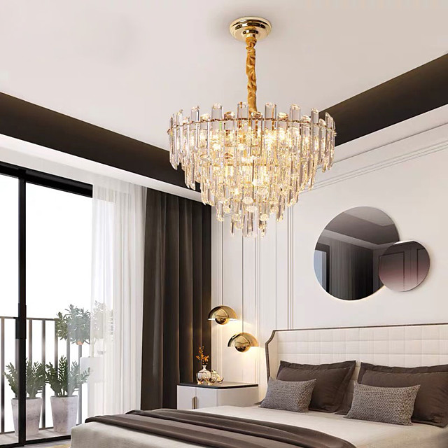 47 cm Crystal Chandelier Modern Luxury Pendant Light Gold Stainless Steel Electroplated 110-120V 220-240V