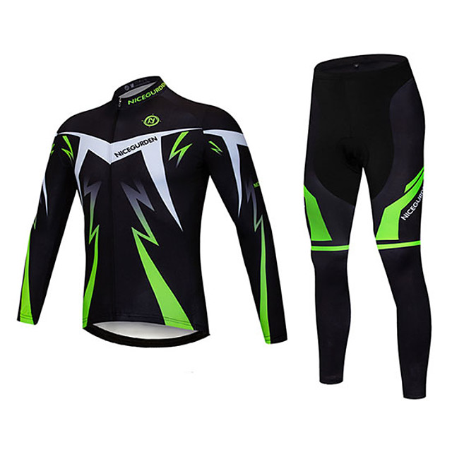 Men's Long Sleeve Cycling Jersey with Tights Winter Wool Elastane Polyester Black Bike Clothing Suit Breathable 3D Pad Quick Dry Reflective Strips Sweat-wicking Sports Graphic Clothing Apparel