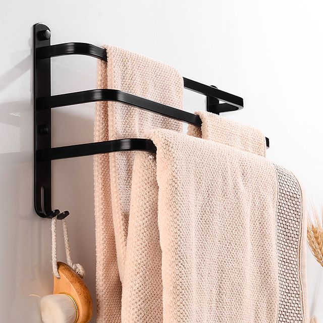 Multifunction Towel Bar Contemporary Aluminum Bathroom Shelf with Hooks Wall Mounted Matte Black 3-layer