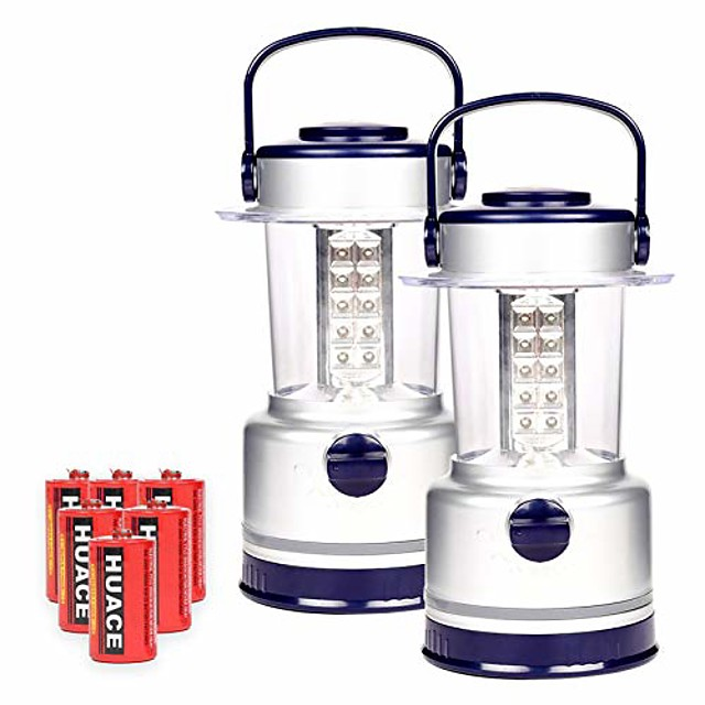2 pack led camping lantern with 7 light level, waterproof tent light, portable lanterns great for camping, survival kits, hurricane, emergency light, outages, hiking, fishing (30 led)