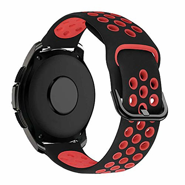 20mm silicone strap compatible with samsung galaxy watch 42mm/active/active 2/active2 40mm/44mm/vivoactive 3/vivomove hr/forerunner 245/645 music/huawei gt 2 42mm replacement band,black/red