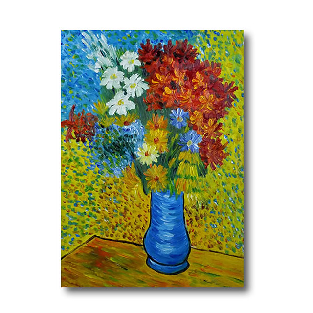 100% Hand Painted Oil Paintings on Canvas Modern Stretched Abstract Van Gogh Flower Artwork Ready to Hang
