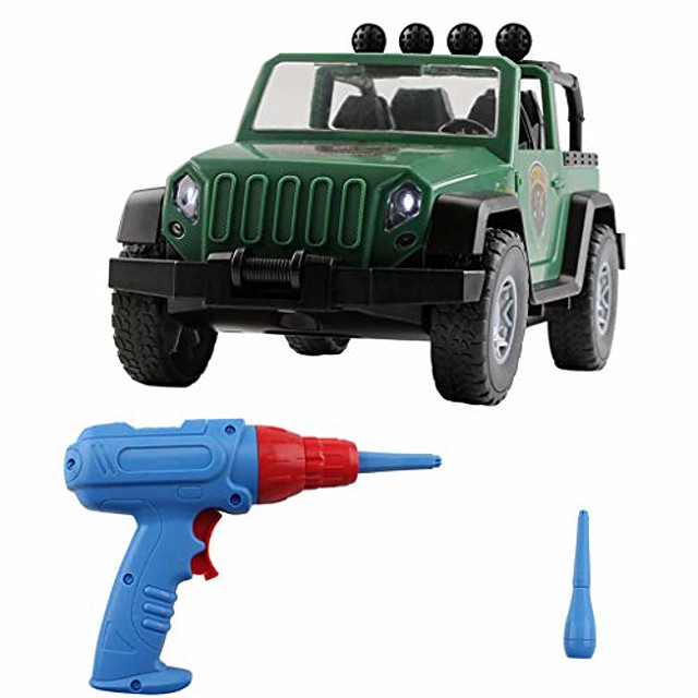 take apart truck toy set, diy assembled military vehicle car off-road truck with engine sounds led lights, construction vehicle building play learning toys set for boys girls toddlers (green)