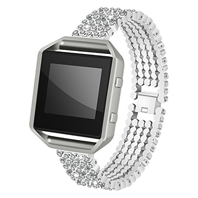 for fitbit blaze strap with frame, aisports fitbit blaze stainless steel rhinestone smart watch band replacement strap bracelet buckle wrist strap for fitbit blaze fitness accessories, silver