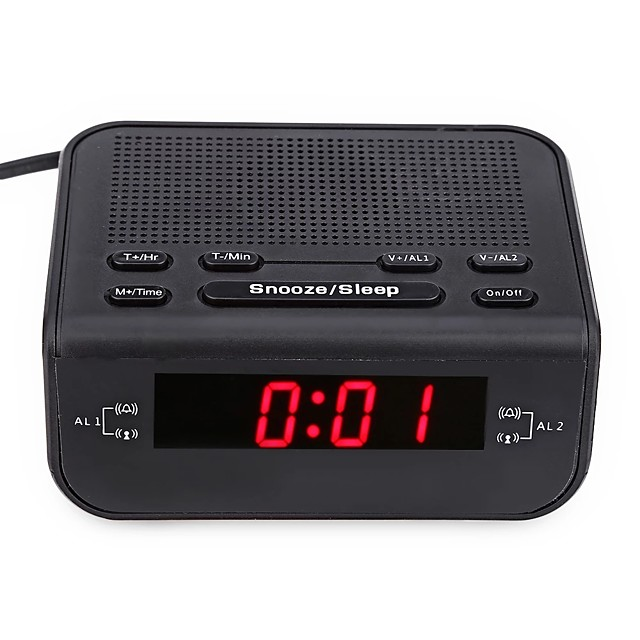 CR-246 Original Modern Design Alarm Clock FM Radio With Dual Alarm Buzzer Snooze Sleep Function Compact Digital Red LED Time Display