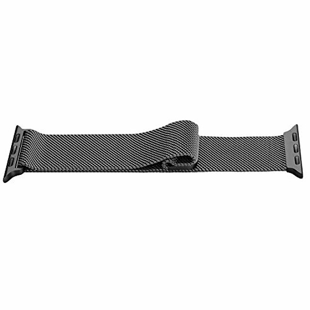 metal replacement strap for apple watch 44mm 42mm - adjustable breathable stainless steel mesh loop magnat replacement strap for iwatch women men series 6 se 5 4 3 2 1, black