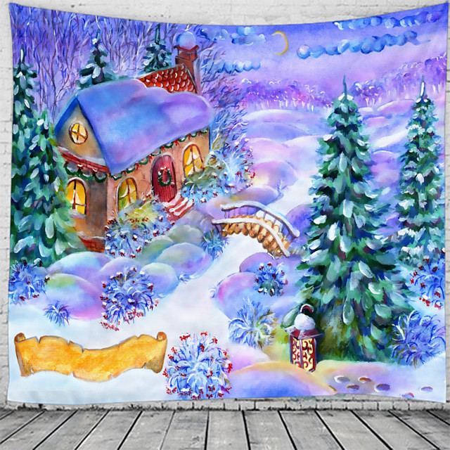 Oil Painting Style Wall Tapestry Art Decor Blanket Curtain Hanging Home Bedroom Living Room Decoration Snow House Rural