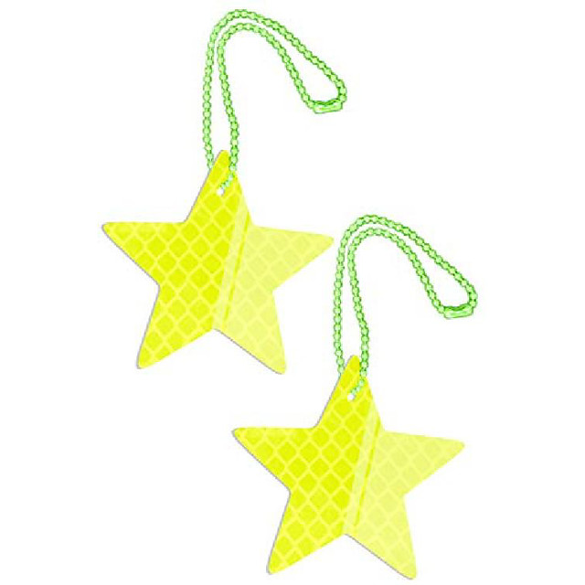 safety reflectors pendants - star - ultra bright and stylish reflective gear for school bag/backpack/bag - reflective fluorescent (yellow-2 everyone)
