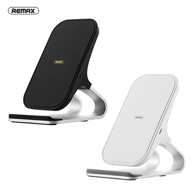 Remax Wireless Desktop Charger 10W Max Vertical Desktop Stand Travel Charger Bracket Design for iPhone/Samsung/Huawei/Xiaomi