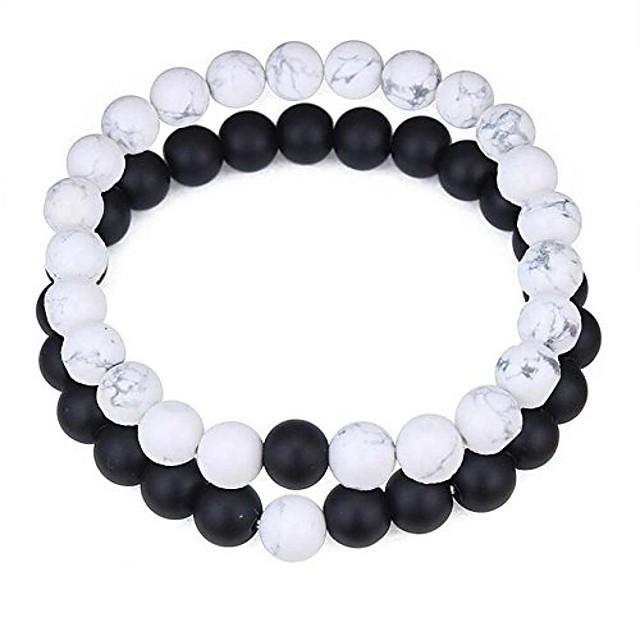 8mm 2pcs/set black agate/crystal gem bracelet stretch bracelets for couples girlfriend boyfriend (style05)