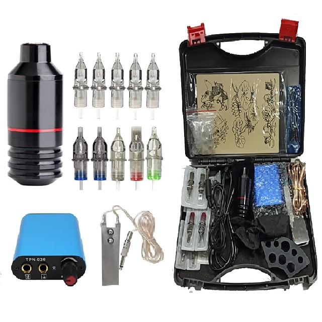 Professional Complete Tattoo Machine Kit - 1 pcs High Quality Rotary Tattoo Machine 1 pcs Mini Power Supply 10 pcs Cartridges and others