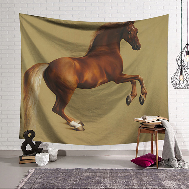 Wall Tapestry Art Decor Blanket Curtain Hanging Home Bedroom Living Room Decoration Horse Galloping Pattern