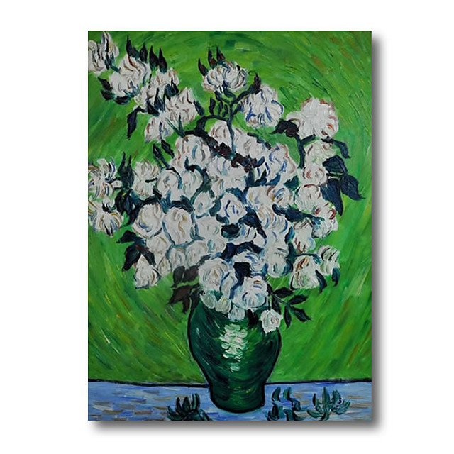 100% Hand Painted Oil Paintings on Canvas Modern Stretched and Framed Grace Abstract Van Gogh Flower Artwork Ready to Hang