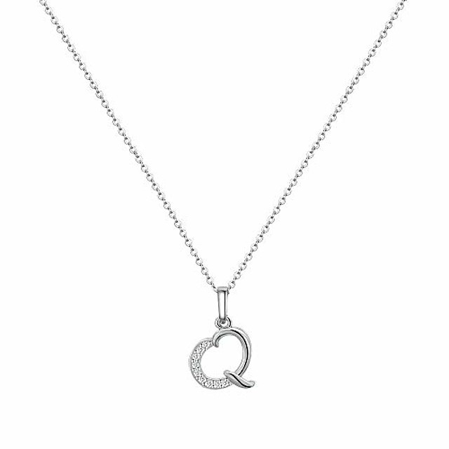 tiny initial q necklace for women, white gold plated sterling silver letter cz initial necklace for women girls kids, dainty cute alphabet q initial necklace jewelry little girl gifts for women girls