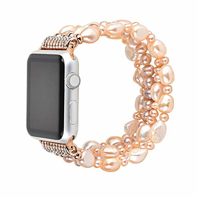 women pearl bracelet crystal fashion band straps for apple iwatch series 5 4 3 2 1, 38-44mm