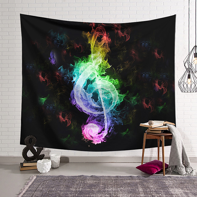 Wall Tapestry Art Decor Blanket Curtain Hanging Home Bedroom Living Room Decoration Polyester Fiber Color Flame Music Note Lanting Design