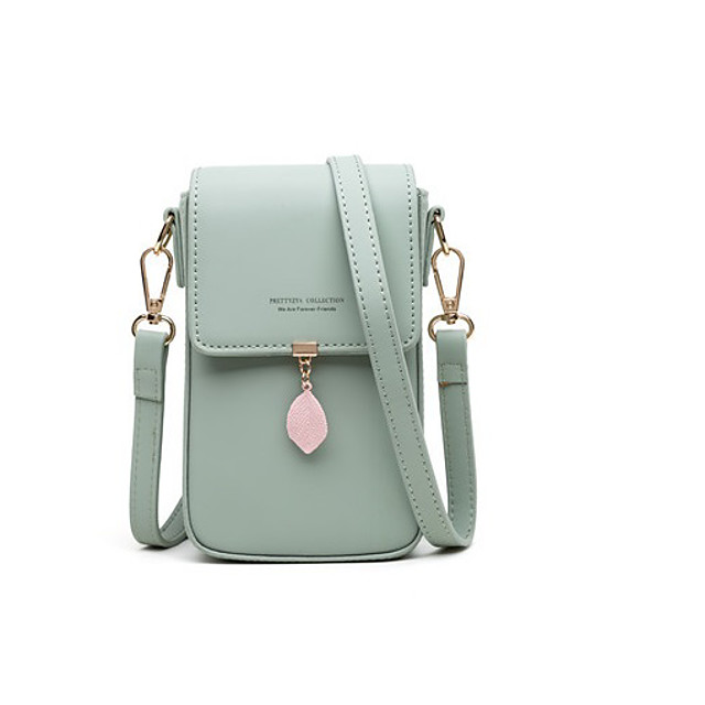 crossbody bags for women leaf pendant card holder phone checkbook organizer snap pocket purse black