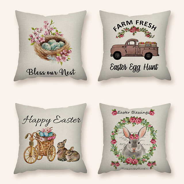 Cushion Cover 4PC Linen Soft Decorative Square Throw Pillow Cover Cushion Case Pillowcase for Sofa Bedroom 45 x 45 cm (18 x 18 Inch) Superior Quality Machine Washable
