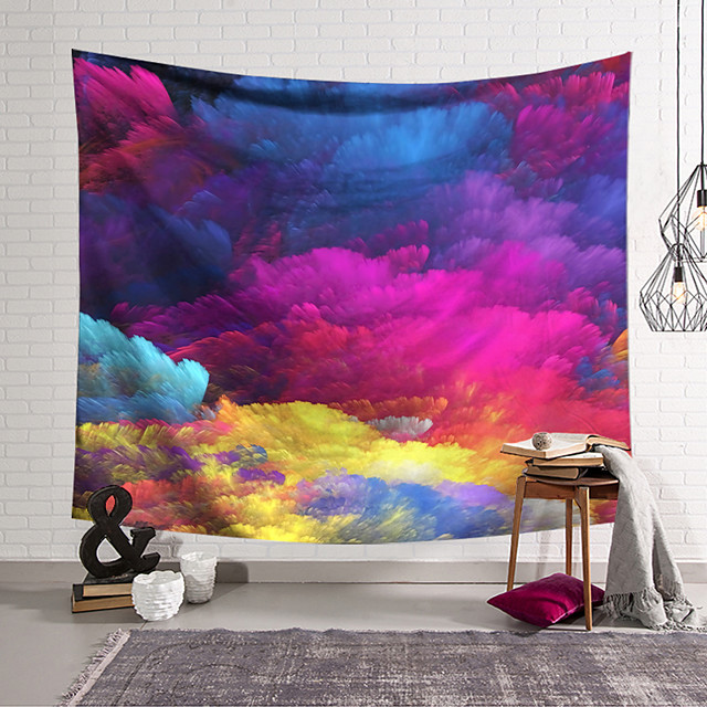 Wall Tapestry Art Deco Blanket Curtain Hanging Home Bedroom Living Room Dormitory Decoration Polyester Fiber Painted Cloud Layer