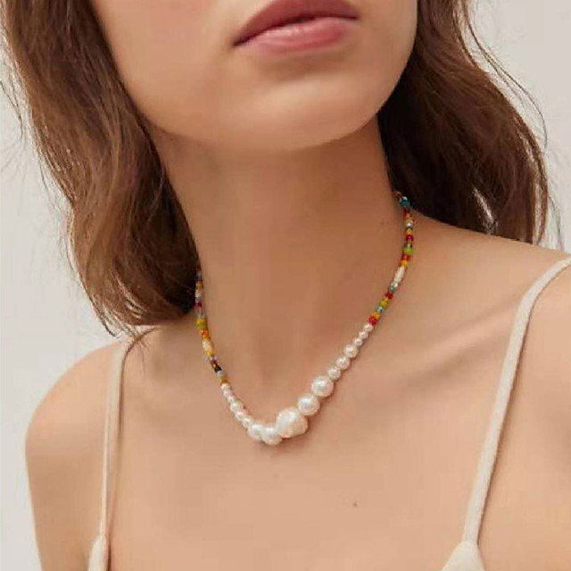 Women's Chain Necklace Beaded Necklace Beads Friends Precious Joy Hope Blessed Dainty Luxury Rock Cute Glass Alloy Rainbow 38 cm Necklace Jewelry 1pc For Sport Gift Birthday Party Beach Festival