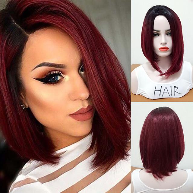 Synthetic Wig Straight Bob Wig Burgundy Medium Length Black / Dark Wine Synthetic Hair Women's Women Medium Size Ombre Hair Burgundy