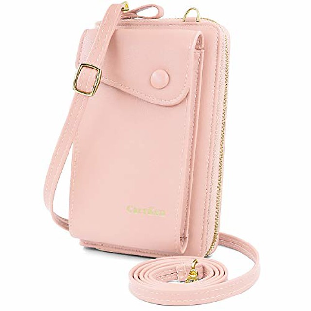 women crossbody phone bag pu leather phone purse wallet small phone cross body bag mini cell phone bag with adjustable strap and card slots (pink)