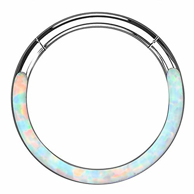 synthetic white/blue opal daith septum piercing hoop 316l stainless steel cartilage helix lobe earrings tragus conch piercing jewelry