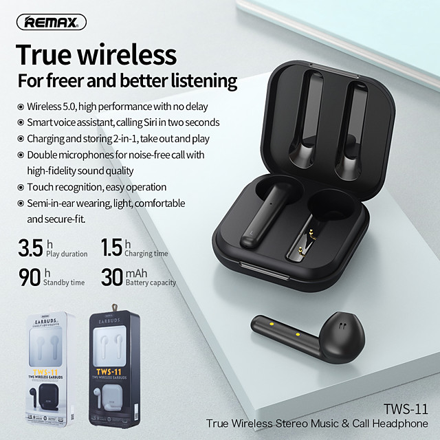 Remax TWS-11 wireless music call headset Bluetooth 5.0 pair ear team headset with charging compartment