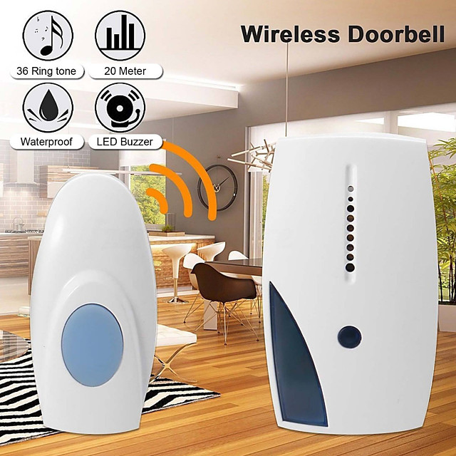 Smart LED Indication Wireless Doorbell 36 Tunes Chime Music Door Bell Transmitter  Receiver 70-110M Range Remote Control C